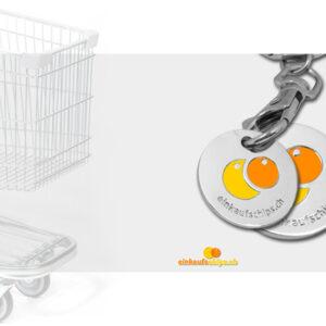 Einkaufs Chips Münzen Einkaufswagen druck Metall