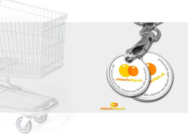 Wagen Jeton Einkaufswagen Shopping Münze Jeton Chip